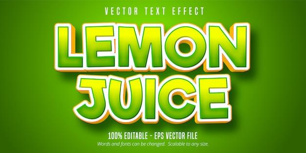 Testo di succo di limone, effetto di testo modificabile verde