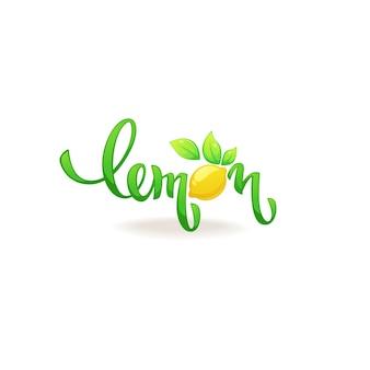 Limone, composizione di lettere per il logo, l'etichetta, l'emblema del succo di agrumi