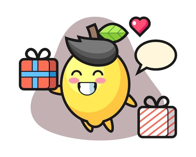Fumetto della mascotte del limone che dà il regalo