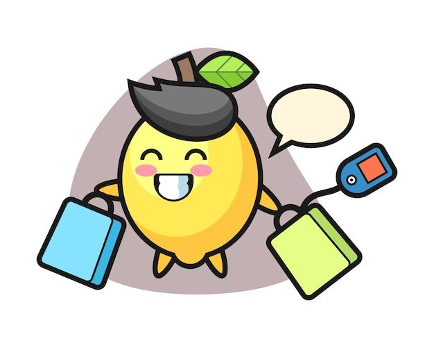 Fumetto della mascotte del limone che tiene un sacchetto della spesa