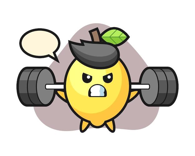 Fumetto della mascotte del limone con un bilanciere