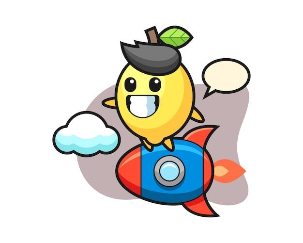 Personaggio mascotte di limone in sella a un razzo
