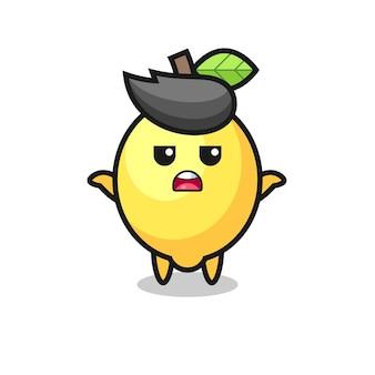 Personaggio mascotte limone che dice non lo so, design in stile carino per maglietta, adesivo, elemento logo