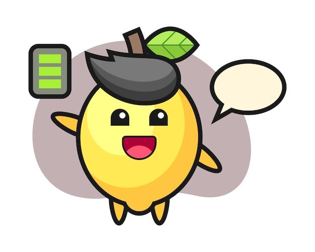 Personaggio mascotte di limone con gesto energico