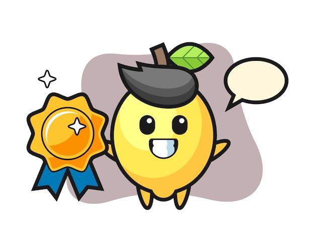 Illustrazione della mascotte del limone che tiene un distintivo dorato