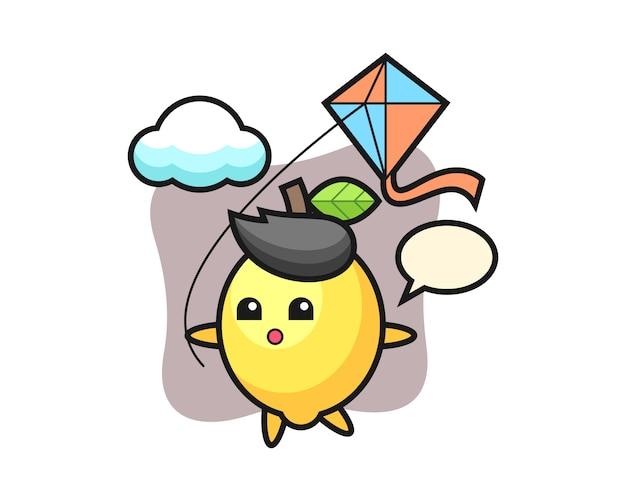 L'illustrazione della mascotte del limone sta giocando l'aquilone