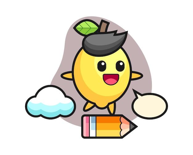 Illustrazione della mascotte del limone che guida su una matita gigante