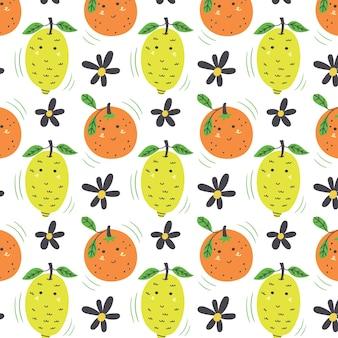 Modello di limone e arancia. fondo di vettore verde giallo senza cuciture della frutta