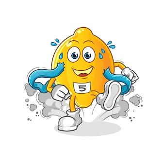 Personaggio runner di limone. mascotte dei cartoni animati