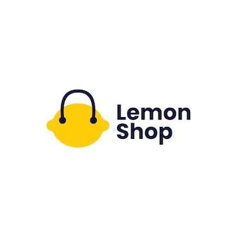 Illustrazione dell'icona di vettore del logo della borsa della spesa del negozio di limoni