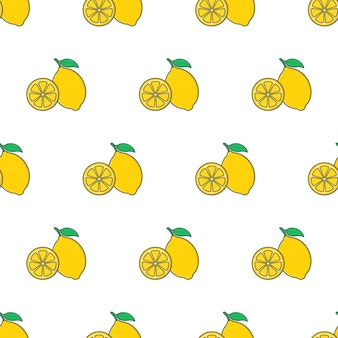 Fetta di limone seamless su uno sfondo bianco. illustrazione di vettore di tema di limone