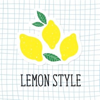 Cucina di giallo di minimalismo dell'illustrazione di vettore di stile del limone