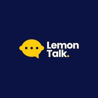 Illustrazione dell'icona di vettore del logo di comunicazione del forum della bolla di chiacchierata di conversazione del limone