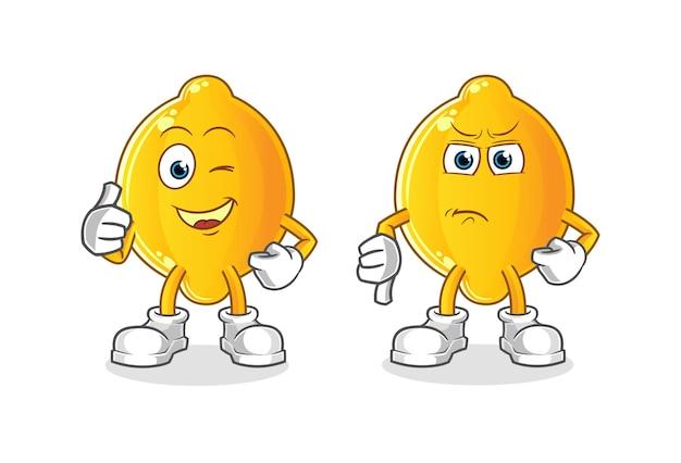 Pollice in su e pollice in giù del limone del fumetto. mascotte dei cartoni animati