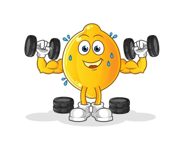Illustrazione di allenamento con i pesi al limone. carattere