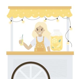 Lemonade stand cespugli di agrumi in stile piatto camion di strada