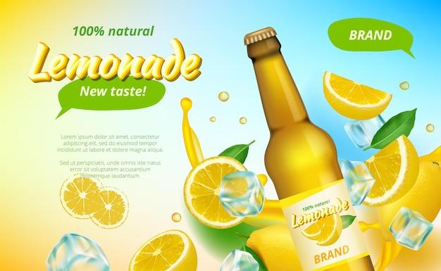 Annunci di lemone. spruzzi di succo giallo che scorre e metà del poster pubblicitario di bevande a base di frutta sana.