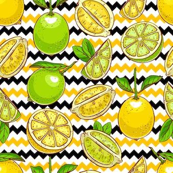 Sfondo di limoni e limette.