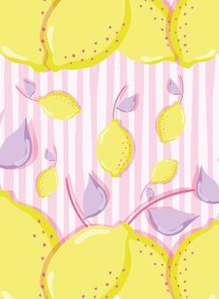Progettazione grafica pastello dell'illustrazione di vettore del pastello dei limoni