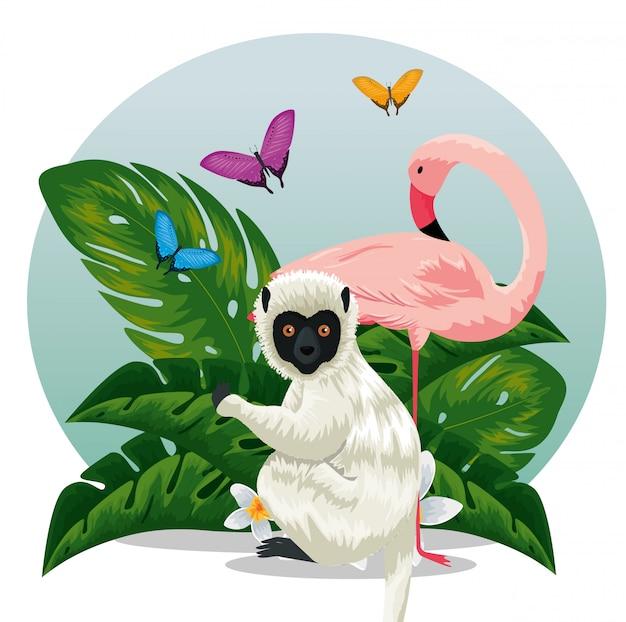Lemure con animali fiammeggianti e farfalle con foglie