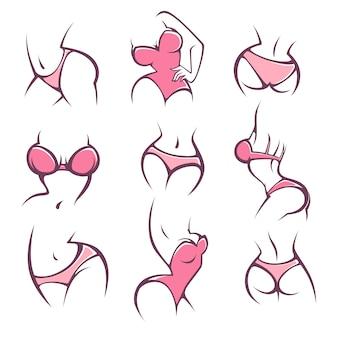 Lengerie, intimo e igiene intima, collezione di pose da donna per il tuo logo