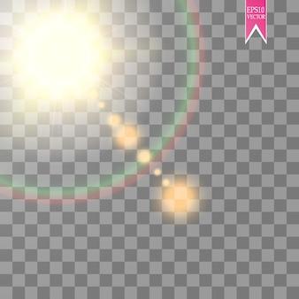 Effetto riflesso lente isolato su sfondo trasparente