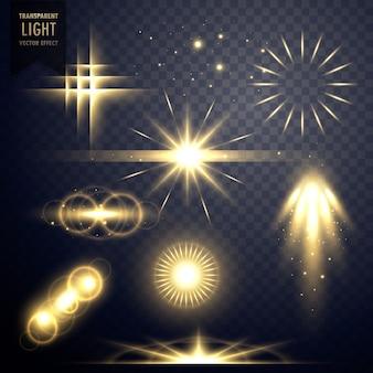 Lens flares trasparente effetto luce scintilla design