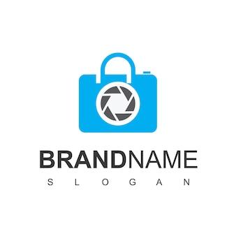 Mercato dell'attrezzatura fotografica del logo del negozio di lenti
