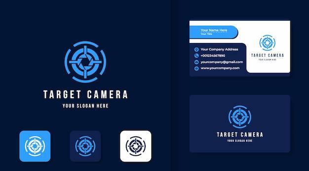Design del logo del target dell'obiettivo e biglietto da visita Vettore Premium