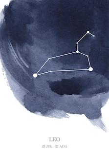 Illustrazione dell'acquerello di astrologia della costellazione del leone. simbolo dell'oroscopo del leone fatto di scintillii e linee di stelle.