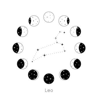Costellazione dello zodiaco del leone all'interno di un insieme circolare di fasi lunari sagoma nera di stelle vettoriale...
