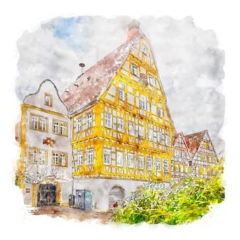 Illustrazione disegnata a mano di schizzo ad acquerello di leonberg germania