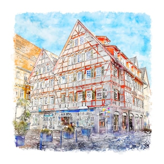 Illustrazione disegnata a mano di schizzo dell'acquerello di leonberg germania