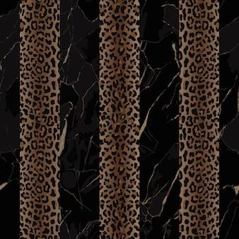 Modello senza cuciture a strisce verticali di moda leopardo e marmo nero per stampe tessili di tendenza