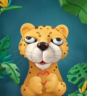 Leopardo, personaggio dei cartoni animati. simpatici animali, illustrazione arte vettoriale per biglietto di auguri
