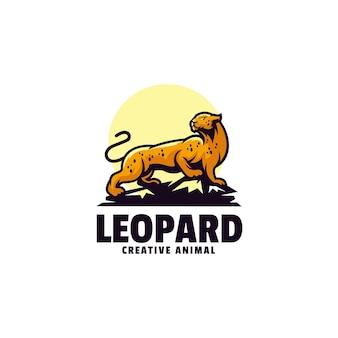 Logo di stile del fumetto della mascotte del leopardo