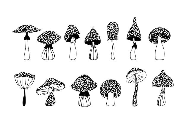 Stampa leopardo funghi isolati clipart set funghi in bianco e nero