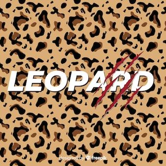 Stampa leopardo con sfondo di parola