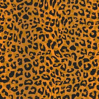 Modello senza cuciture leopardo con pelle animale realistica Vettore Premium