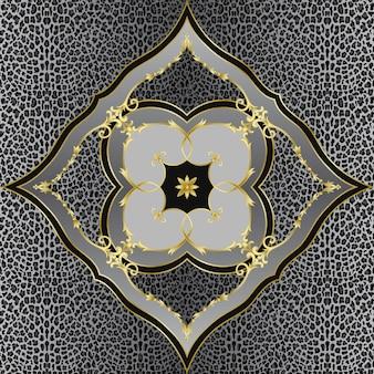 Modello senza cuciture con scialle leopardato con elementi floreali piastrella interna con stampa tessile ripetuta quadrata