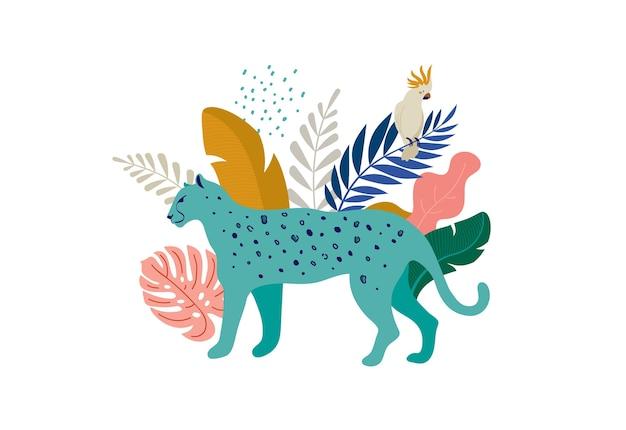 Leopardo con foglie tropicali illustrazione