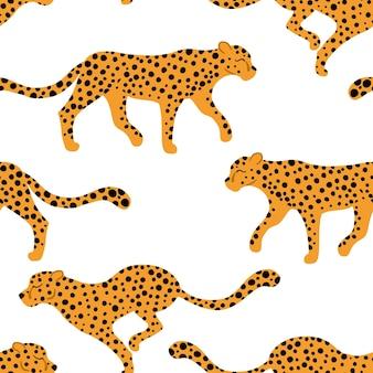 Leopardi senza cuciture illustrazione di animali tropicali in semplice cartoon
