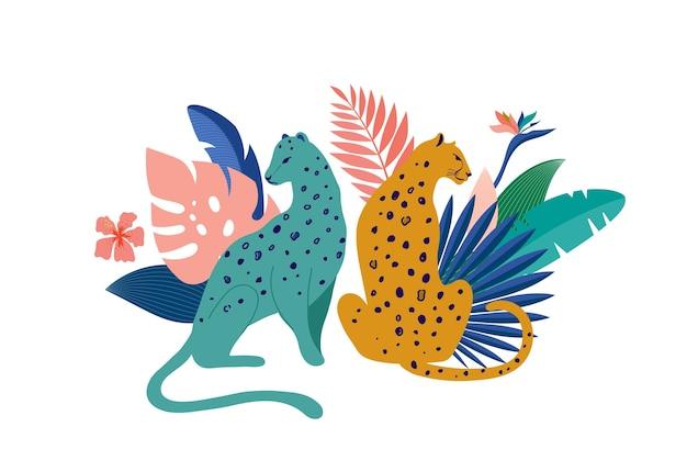 Leopardi con foglie tropicali illustrazione
