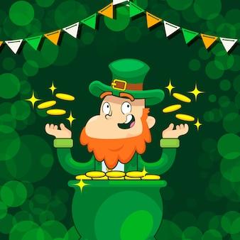 Leprechaun in the cauldron of golden coins, saint patrick day