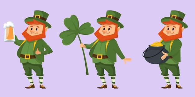 Leprechaun in diverse pose. personaggio delle fiabe in stile cartone animato.