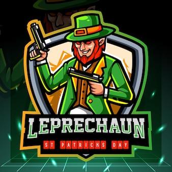 La mascotte del nano leprechaun tiene una pistola. design del logo esport