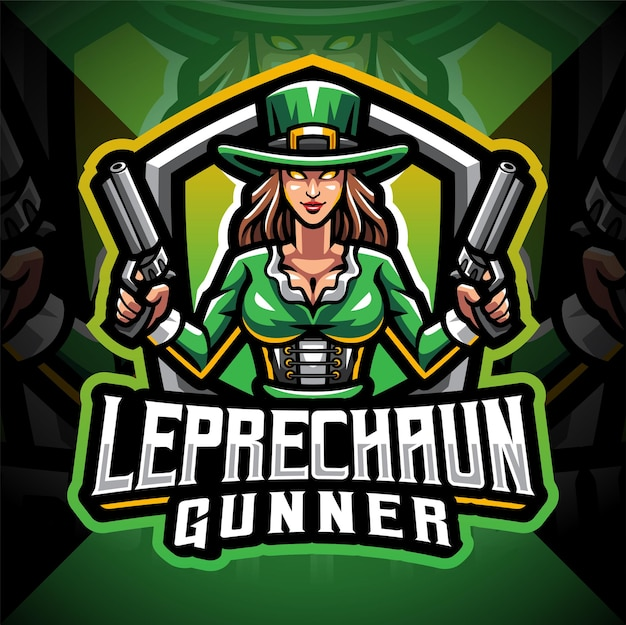 Leprechaun gunner girls esport logo mascotte