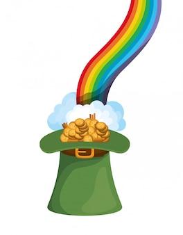 Cappello leprechaun con monete e icone arcobaleno
