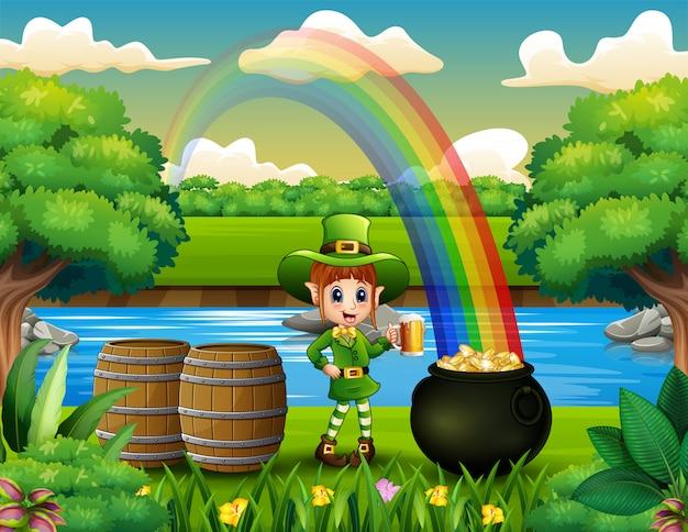 Leprechaun che tiene una birra tazza sul paesaggio natura e arcobaleno