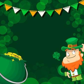 Leprechaun e una pentola di monete d'oro, giorno di san patrizio